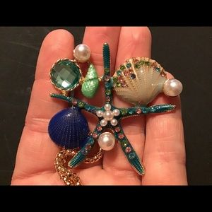 Jewelry - Enamel sea shell starfish pearls gold necklace new